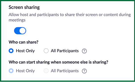 Zoom: Only Allow Hosts to Share their Screen
